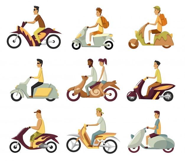 レトロなスクーターで通勤する若い男を備えたモダンな創造的なフラットイラスト。古典的な探している原付け、サイドビューに乗る男。スタイルのスクーターのセット