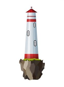 Плоский маяк. мультяшный пейзаж. прожекторная башня для морского навигационного наведения. архитектура объекта. плоское здание маяка на берегу