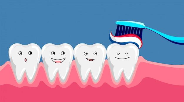 歯ブラシと歯磨き粉でかわいい幸せな笑みを浮かべて歯。きれいな歯を磨きます。歯科子供のケア。モダンなフラットスタイル漫画キャライラスト