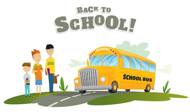 Мальчики ждут транспорта. классический американский старый школьный автобус. обратно в школу. ездить по дороге. свободное путешествие. цветной векторный школьный баннер