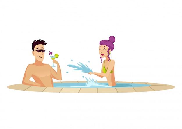 Аттракцион в аквапарке. два отдыхающих в маленьком бассейне. мужчина пьет коктейль. плоский стиль