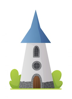 Плоский сказочный замок. средневековый дворец с высокой башней и конической крышей. крепость или крепость с крепостной стеной и башней