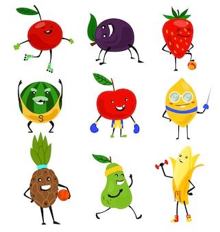 Спортивные фрукты персонажей. смешные фрукты на спортивные упражнения, фитнес витаминный человек здоровое питание иллюстрации