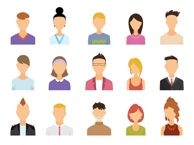 Набор цветных значков аватара