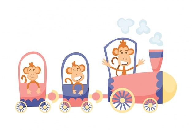 Мультфильм набор с различными животными на поездах. обезьяны.