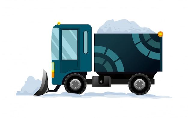 重機は道路を雪からきれいにします。道路工事。除雪装置は、白い背景で隔離。