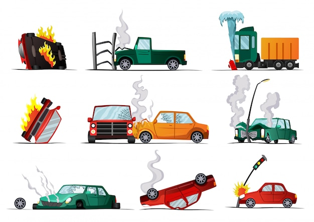 道路上の事故。車の破損した車両。クラッシュ車両、ダメージ自動車のイラスト。保険事案。壊れた漫画自動のセット