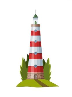 Плоский маяк. мультяшный пейзаж. прожекторная башня для морского навигационного наведения.