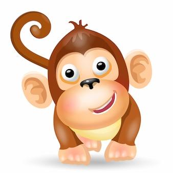 Милый забавный персонаж обезьяна.