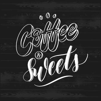 手は、コーヒーとお菓子のレタリングポスターをスケッチしました。