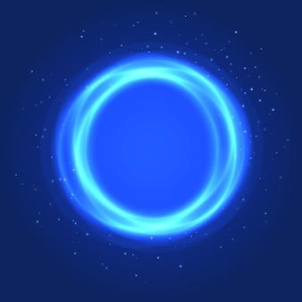 ネオンブルーサークルの背景。ラウンドフレームをベクトルします。輝く円