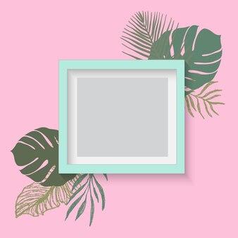 熱帯の葉で飾られたフレームの上のスレートの立面図。