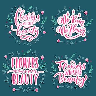 花のささやきの美しさ - 手レタリングのセットです。
