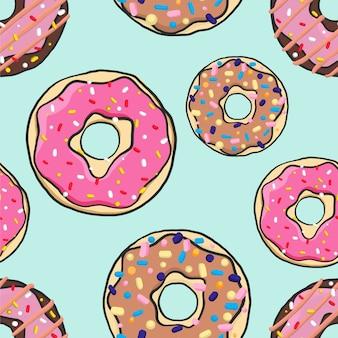 Бесшовные яркие разноцветные пончики в мультяшном стиле