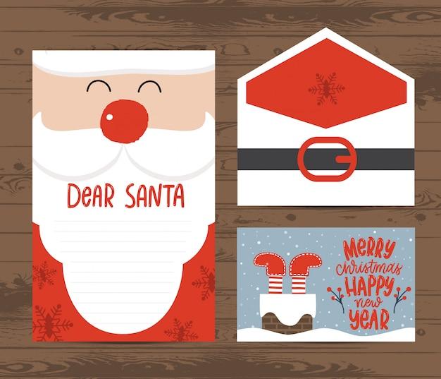 Творческий рождественский шаблон письма и конверта