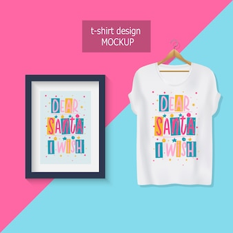 Дорогой санта, я хочу. надпись мотивационные цитаты. дизайн футболки.