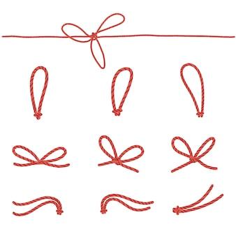 新年の贈り物のラベルを梱包するためのクラフト赤いロープ。