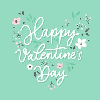 Счастливый день святого валентина фон с буквами и цветами. иллюстрация праздник карты на фоне мяты.