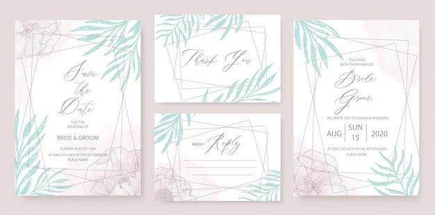 結婚式招待状エレガントなテーマテンプレートは、緑の花飾りで設定します。