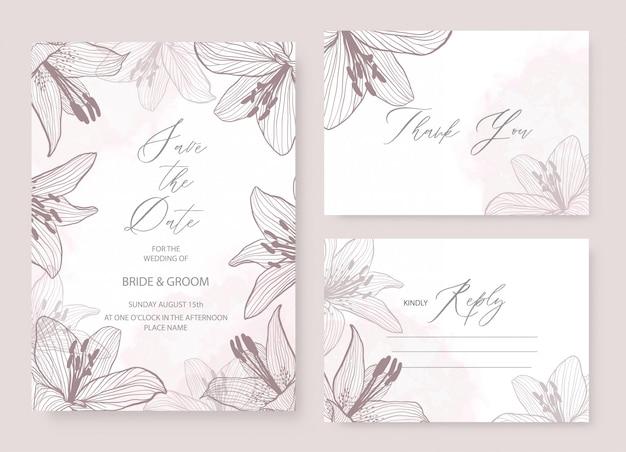 結婚式招待状エレガントなテーマテンプレートは、リリーの花飾りで設定します。
