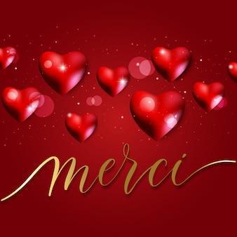 バレンタインデーの背景に赤いハートと書道
