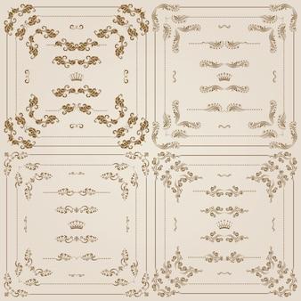 金の装飾的な罫線のベクトルを設定
