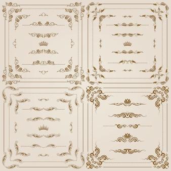 Векторный набор золотых декоративных бордюров