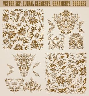 ベクトルダマスク織飾りのセット。