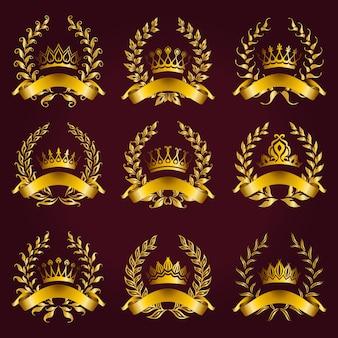 Роскошные золотые этикетки с лавровым венком