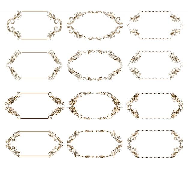 Векторный набор декоративных декоративных рамок