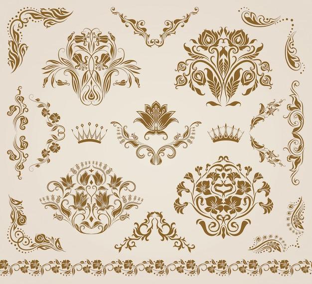 ベクトルダマスク織飾り、パターンのセットです。