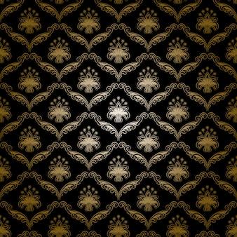ダマスク織のシームレスな花の壁紙。