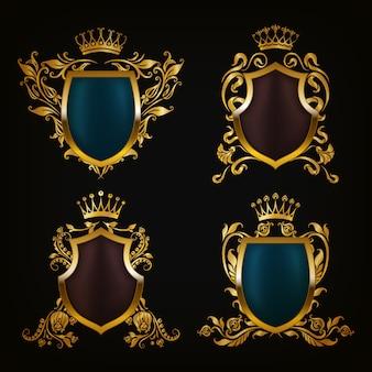 紋章セットの装飾的な盾
