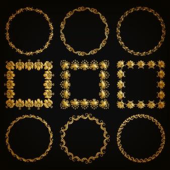金の装飾的なボーダー、フレームのセット