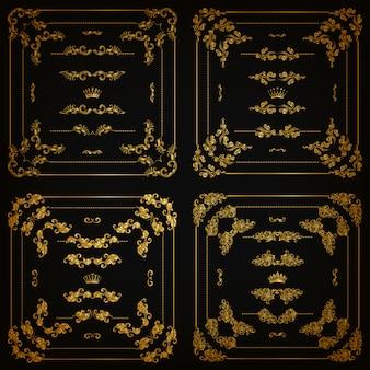 Набор золотых декоративных бордюров, рамка