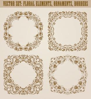 装飾的な手描きの要素、ボーダー、デザインのための花の要素を持つフレームのセット。ビンテージスタイルのページ装飾