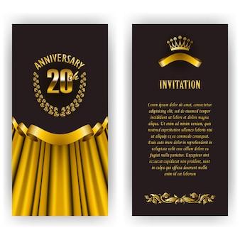 周年記念カード、月桂樹のリースと番号の招待状のセット。