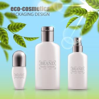 Набор реалистичных зеленых стеклянных бутылок эко косметик