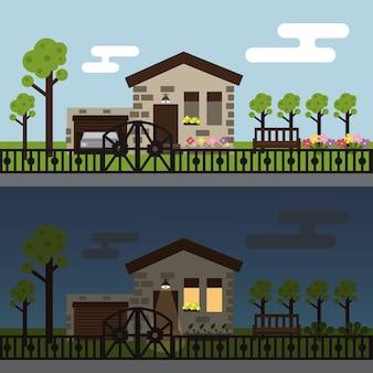 昼と夜のタウンハウス風景