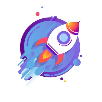 宇宙に飛んでいるロケット