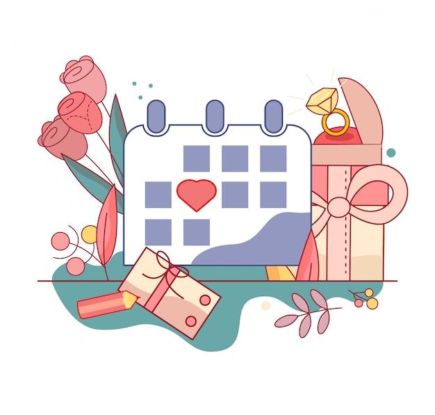 卓上カレンダー。スケジュール上の休日の日付スタンプ。日プランナーアイコン。