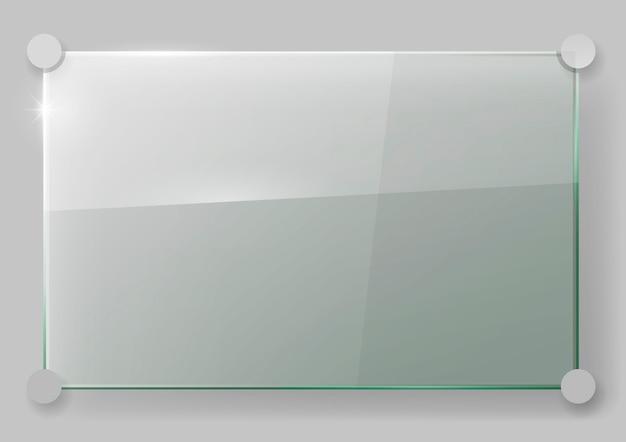 壁にガラス板