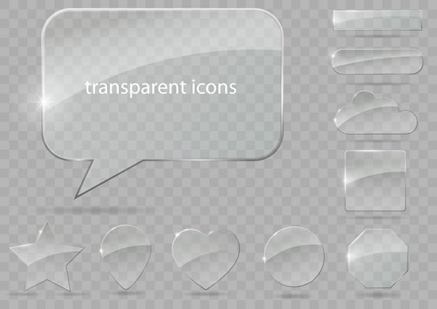 透明なアイコンのセット