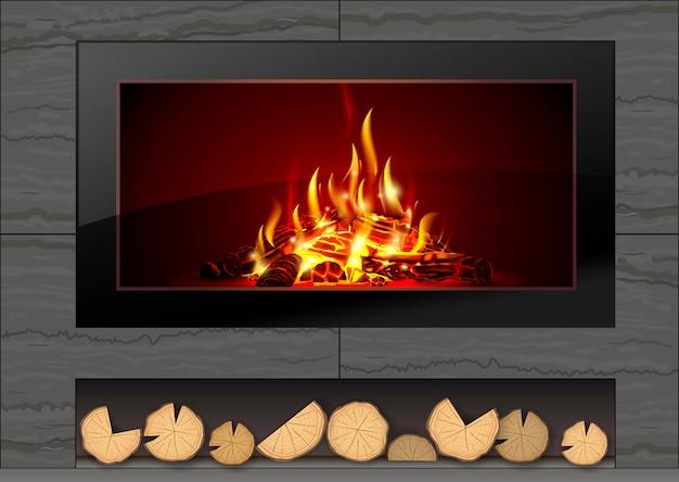 火が付いている現代暖炉