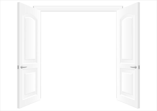 白い二重扉を開く