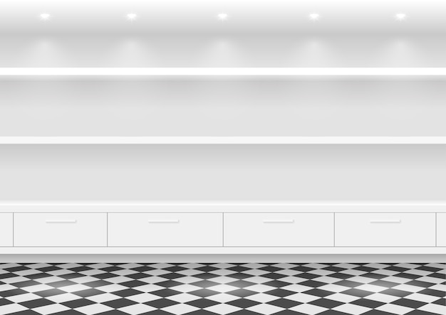 製品の白い棚