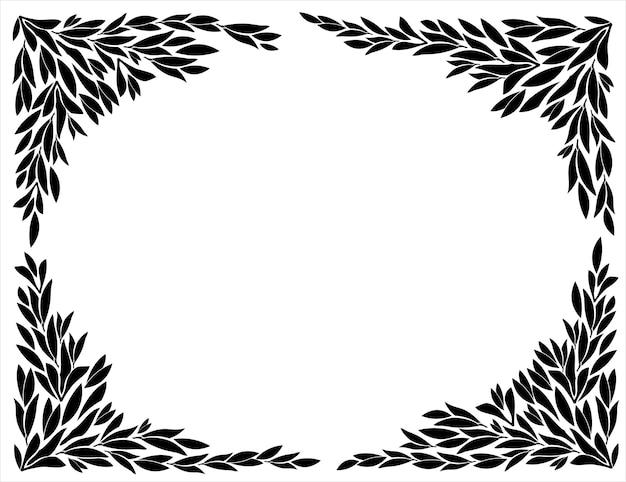 葉のシルエットのフレームのコーナー