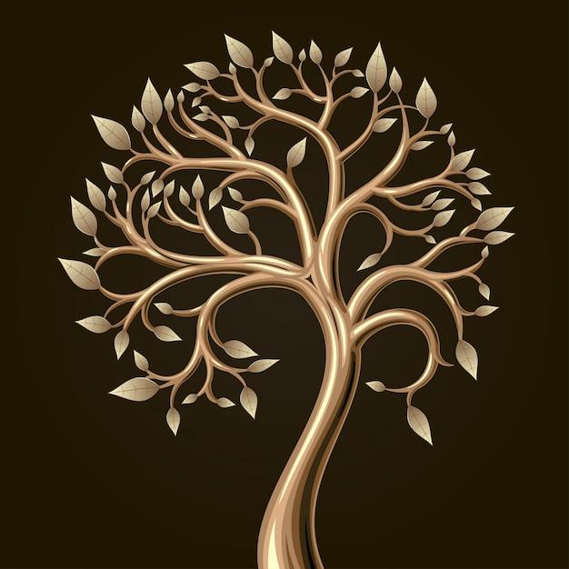 ベクターグラフィックの葉を持つ黄金のアートツリー。
