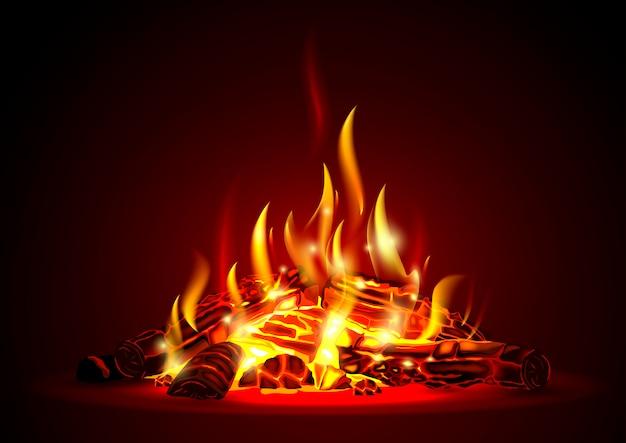 Тлеющий огонь ночью
