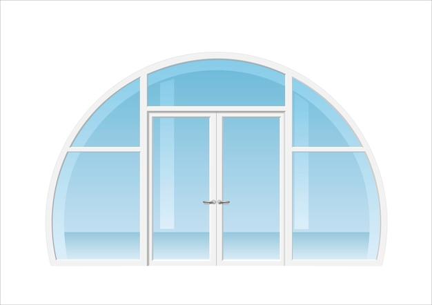 アーチ型の窓とドア